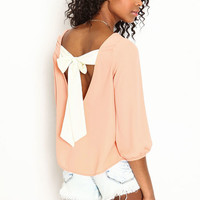 CHIFFON BOW BACK BLOUSE