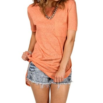 Coral Short Sleeve Single Pocket Top