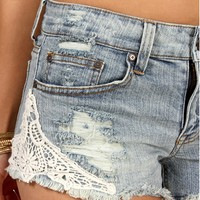 Vintage Wash Crochet Denim