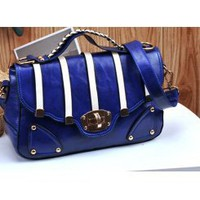 Wholesale 2012 new style matching contrast color buckle modified lady bag C-M36-023 army blue - Lovely Fashion