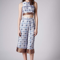 Folk Print Stud Crop Top