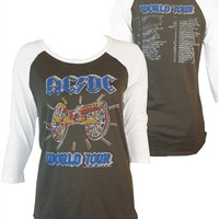 Women's AC/DC World Tour Raglan Two-Sided Tee Shirt by Junk Food | Old School Tees