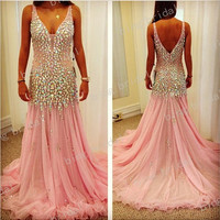 Sexy Amazing prom dress Floor-length Chiffon Open back beadsBridesmaid Dress Evening Dress Prom Dress 2013