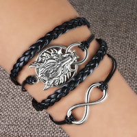 Pugster Infinity Bracelet Charms Silver Bangle Cross Leather Friendship Handmade