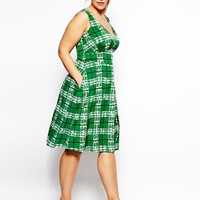 ASOS CURVE Midi Dress In Check Print