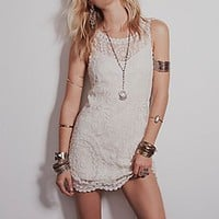 Free People Womens Embroidered Net Shift Dress