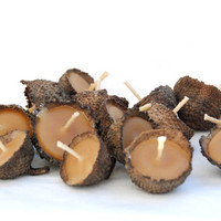 10 Acorn Cap Candles Floating Beeswax by greenbaboondesigns