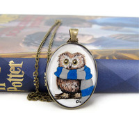 Owl Jewelry Owl Necklace Harry Potter Necklace Resin by silverthaw