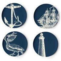 Thomas Paul Melamine scrimshaw dinner plates (set of 4)