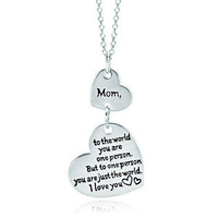 925 Sterling Silver Love Mom Double Heart Graffiti Message Pendant Necklace A03