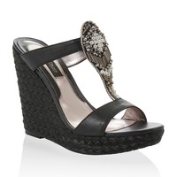White House | Black Market Embellished Black Espadrille T-Strap Wedge