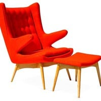Jonis Armchair & Ottoman, Orange