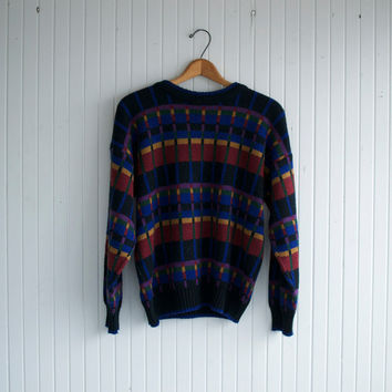 Vintage Plaid Squares Sweater - M