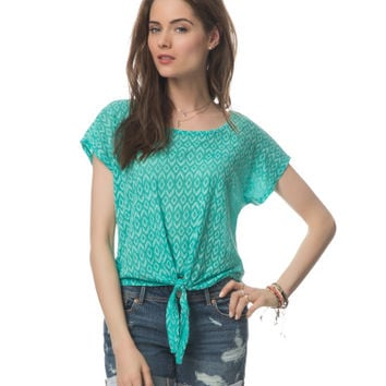 Tie-Front Ikat Burnout Top