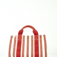 Hermes Red & White Canne Canvas Tote Bag