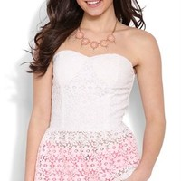 Strapless Floral Crochet Peplum Top