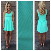 Mint Texture Lets Play Babydoll Dress