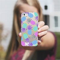 Pineapple Pandemonium Lavender - Transparent/Clear Background iPhone 5s case by Lisa Argyropoulos | Casetagram