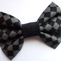 Gray and Black Checkered Bow Hair Clip - Gothic Lolita Bow - Punk Hair Bow Accessory