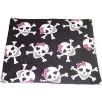 Mousepad Skull Crossbones Girly Black Sparkle Pink Bow | kathisewnsew - Housewares on ArtFire