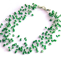 Green Necklace. Bridesmaid Necklace. Bridal Necklace. Beadwork. Wedding Necklace