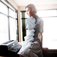 Black and White Houndstooth Dress - Madison Ave