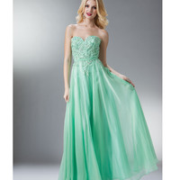 Mint Beaded Lace Strapless Sweetheart Long Dress