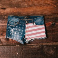 Blue Jean Denim Shorts w/ American Flag Print
