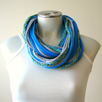 Infinity t-shirt scarf with braid, Fabric Necklace, Festival wear, blue, green and gray