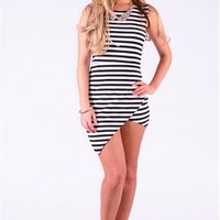 Black & White Sleeveless Striped Dress w/ Asymmetrical Skirt