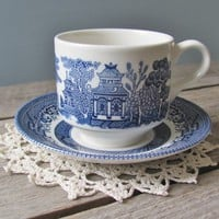 Blue Willow Cup and Saucer by oldschoolfarm on Etsy