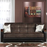 Luna Three Seat Sleeper Sofa in Chocolate