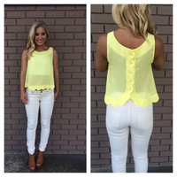 Lemon Yellow Scallop Button Back Blouse