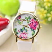 New Fashion Leather Geneva Rose Flower Dress Watches for Women White Color