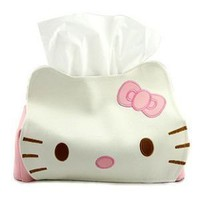 Hello Kitty Head Shaped Tissue Box Cover White