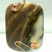 Thunder Agate Pendant hand wrapped in Copper by 3cedarsjewelry
