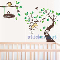girl Monkey tree decal wall vinyl  Monkey decal Nursery Decal Tree decals Children Wall Decal