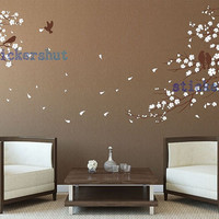 nursery cherry blossom birds wall decal stickers branch birds wall decal for living room decor