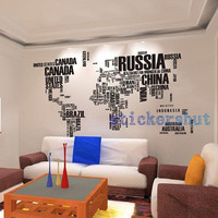 World map decal in words large text world map stickers for home or office decor