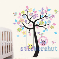 owl tree decal Vinyl Nursery Owl Tree wall decal stickers flowers bird Nursery Art decor