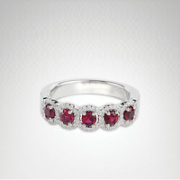 14kt white gold diamond ruby band 5 halo