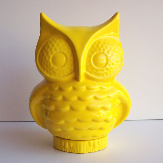 Ceramic Owl Planter Vintage Design Lemon Yellow by fruitflypie