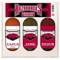 Arkansas Razorbacks NCAA Grilling Gift Set (12oz Cajun, 12oz Lime, 12oz Peach)