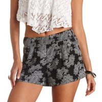 PLEATED BANDANA PRINT HIGH-WAISTED SHORTS