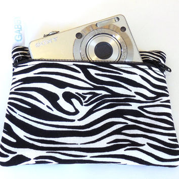 Camera Bag, Zebra stripe, padded, womens accessory, handmade
