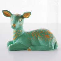 Decorative Deer Figurine - Ceramic - Hand-painted in Mint Green and Gold - Home and Garden - Deer Home Decor