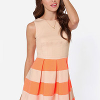 Theme Song Orange and Beige Dress