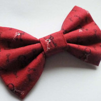 Red Hair Bow Clip with Small Keys Print - Gothic Lolita Bow - Punk Hair Accessory