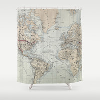 Vintage Map of The World (1875) Shower Curtain by BravuraMedia | Society6