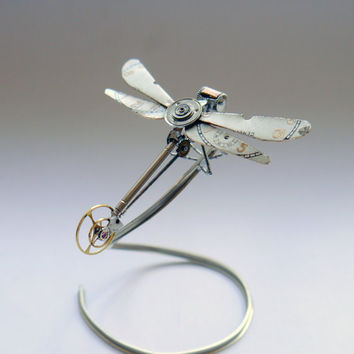 Mechanical Dragonfly No 11 Sculpture Recycled Watch Parts Clockwork Dragon Fly Figurine Watch Stems and Faces Insect Justin Gershenson-Gates